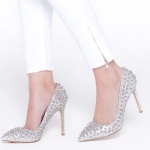 Shoemint Zoe Silver Studded Spike Pumps (New)